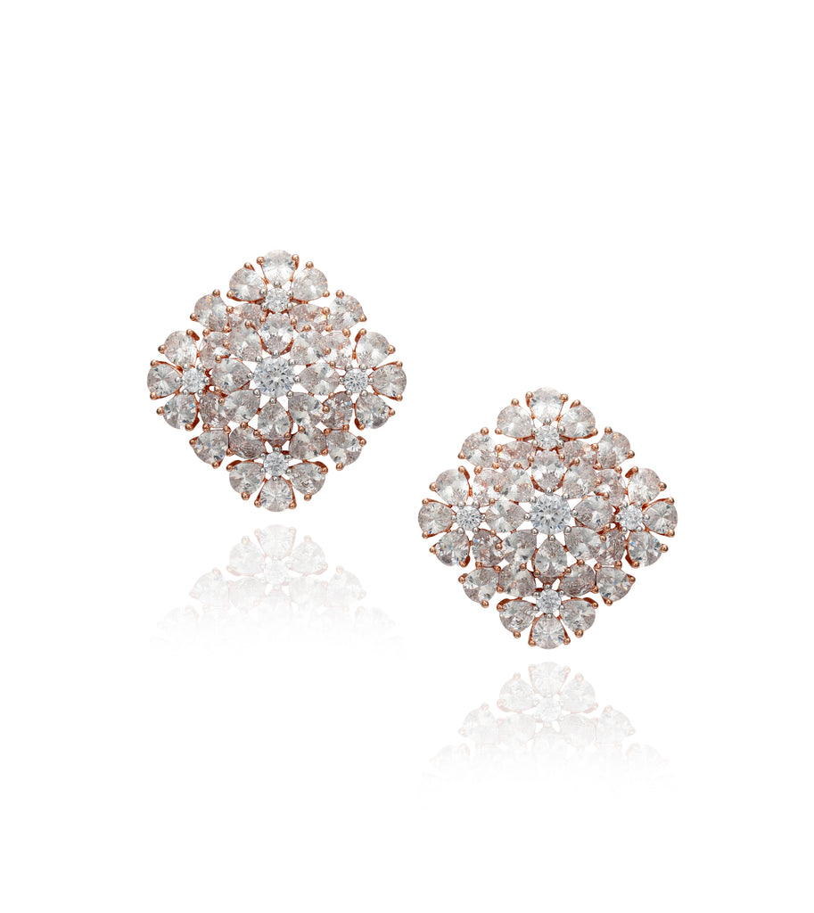 Rose Gold Pear Crystal 'Hena' Stud Earrings