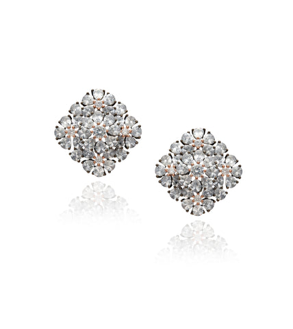 Onyx Pear Crystal Stud 'Hena' Earrings