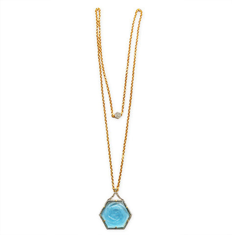 Ice Blue Crystal Rose Cut Geometric Pendant on Chain