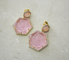 Powder Pink Crystal Rose Cut Geometric Earrings