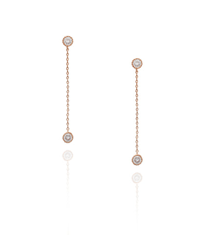Rose Gold Solitaire Crystal 'Jana' Earrings