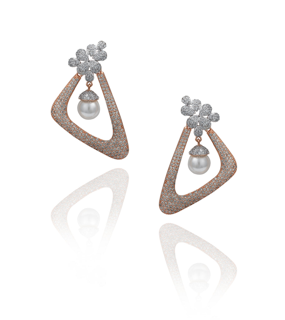 Rose Gold and Silver Geometric Pavé 'Lola' Earrings