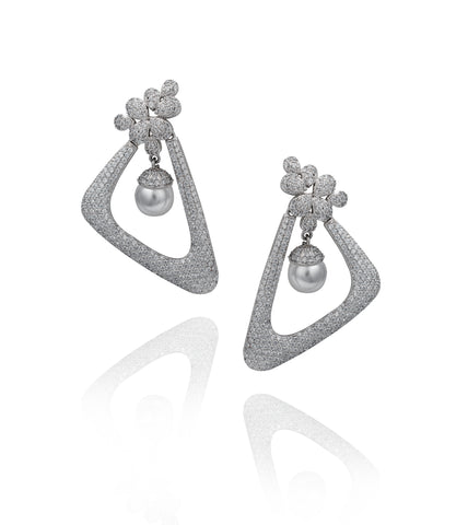Silver Geometric Pavé 'Lola' Earrings