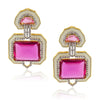 Fuschia Art Deco Enamel  Crystal Earrings