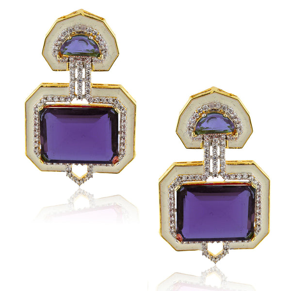 Amethyst Art Deco Enamel Crystal Earrings