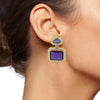 Amethyst Art Deco Enamel Crystal Earrings - model