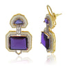 Amethyst Art Deco Enamel Crystal Earrings - side