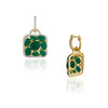 Geometric Emerald Drop Earrings