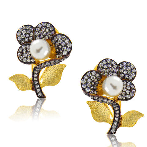 Floral Crystal Pearl Ear Cuffs
