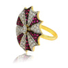 Candy Striped Crystal Ring