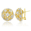 White Crystal Floral Globe Studs