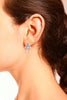 Geometric Detail Crystal Stud Earrings