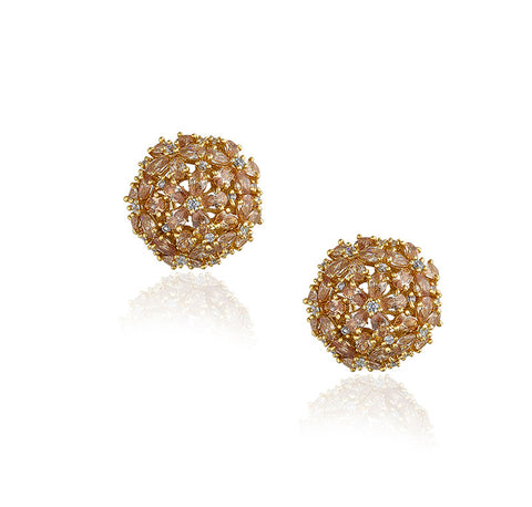 Rose Gold and Crystal Globe Studs Earrings