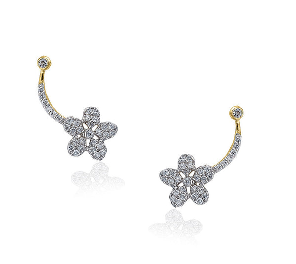 Shooting Flower Crystal Ear Climber Earrings