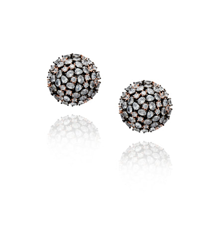 Onyx Globe Stud 'Reena' Earrings