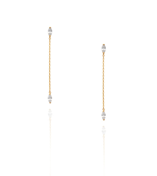 Gold Crystal Marquee 'Seema' Earrings