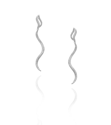 Silver plated Serpentine Pavé crystal 'Shelly' Earrings