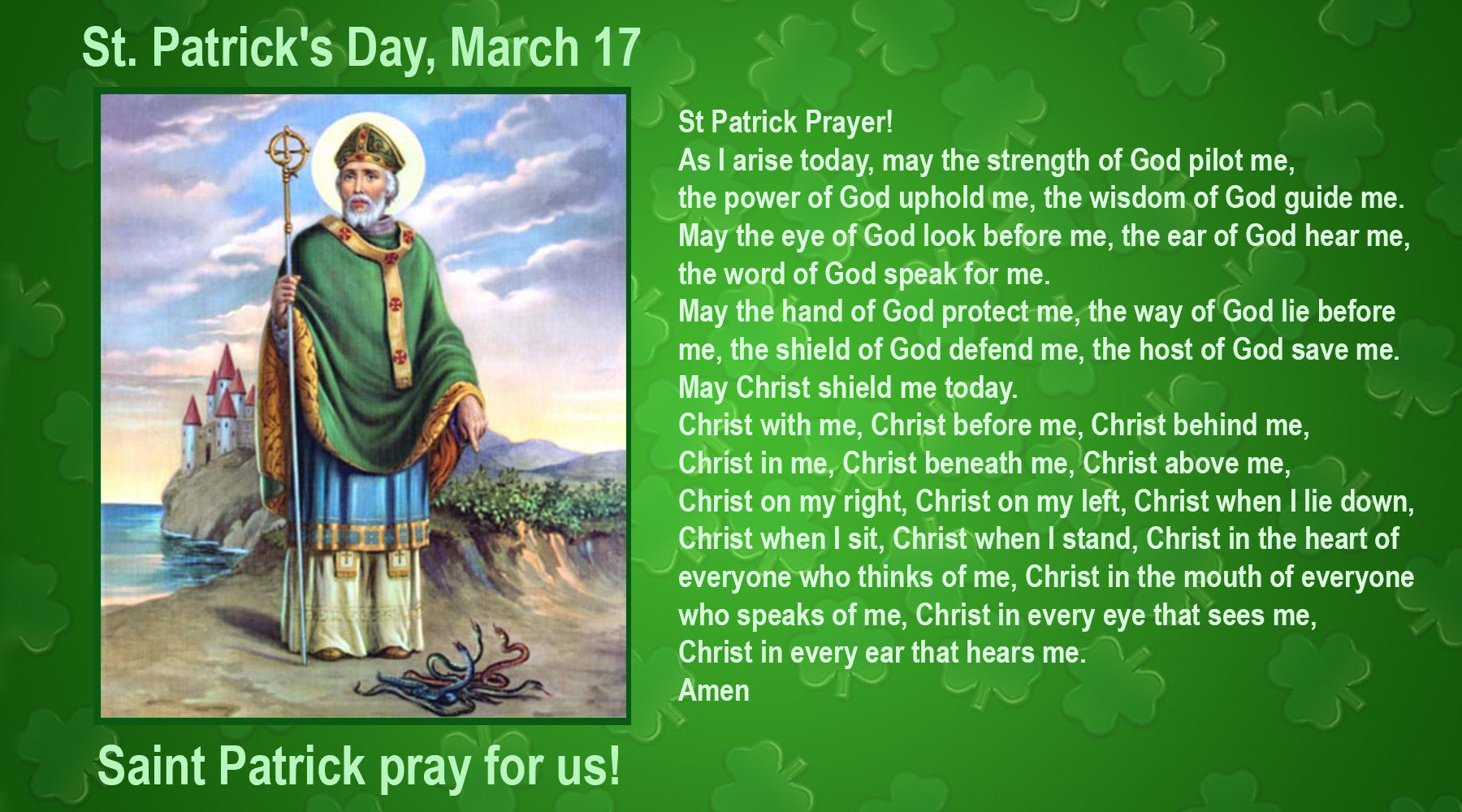 Saint Patrick's Day, March 17, St Patrick Prayer