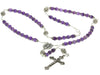 "STERLING SILVER ROSARY NECKLACE, AMETHYST 6MM, CRUCIFIX & M. MEDAL, 23"" NECKLACE PRAYER BEADS"