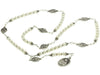 STERLING SILVER 7 SORROWS ROSARY NECKLACE FRESHWATER-CULTURED PEARLS 6MM LARGE 7 SORROWS MEDALS 26""