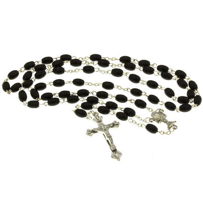 Black Wood Bead Rosary