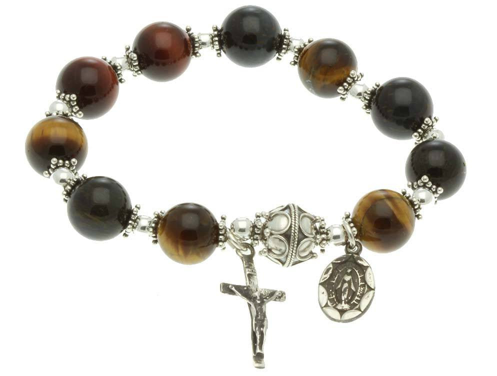Sterling Silver Rosary Bracelet, Multi-color Tiger Eyes 10mm Elastic Bracelet