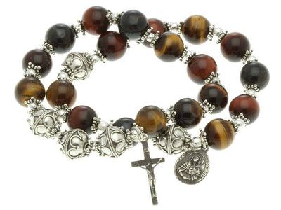 Sterling Silver Double Elastic Rosary Bracelet, Multi-Color Tiger Eyes