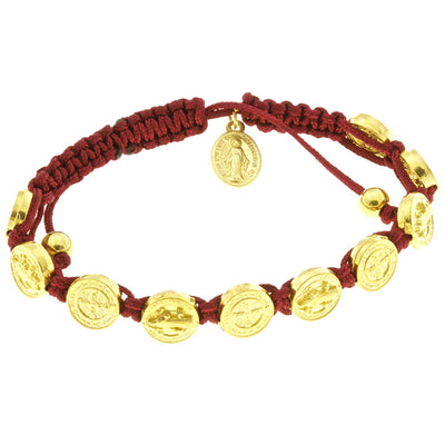 Saint Benedict Red Corded Bracelet with Miraculous Medal
