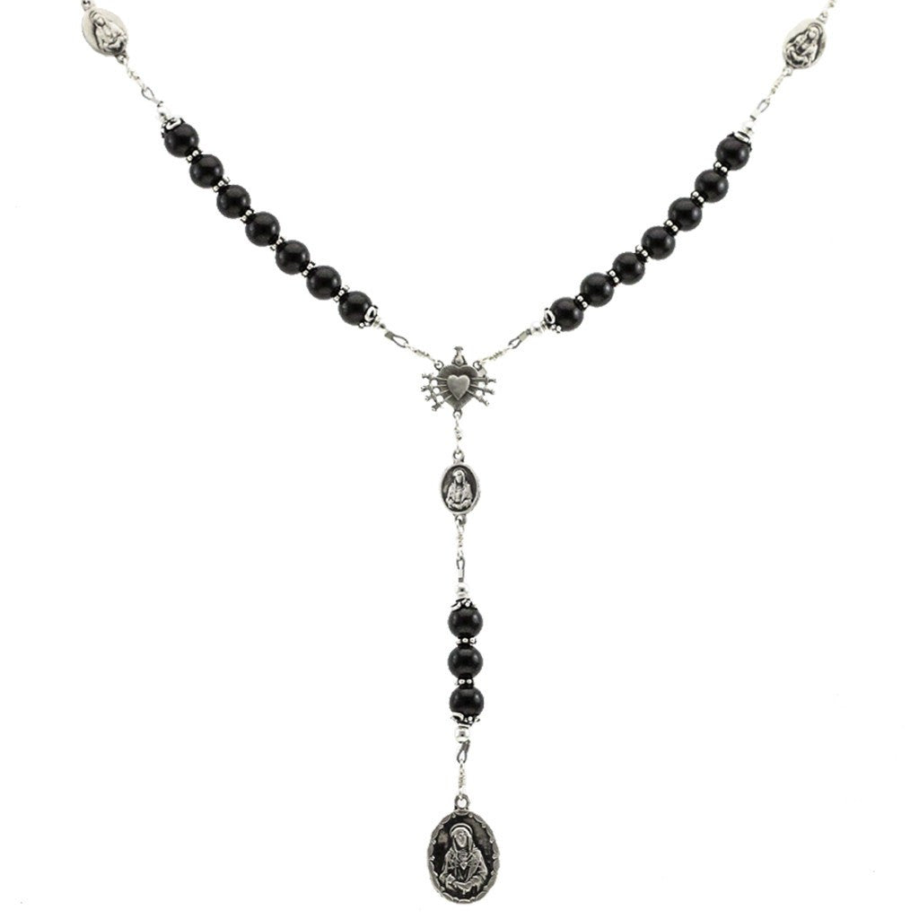 Sterling Silver 7 Sorrows Rosary Onyx 8mm Large 7 Sorrows Medal Set