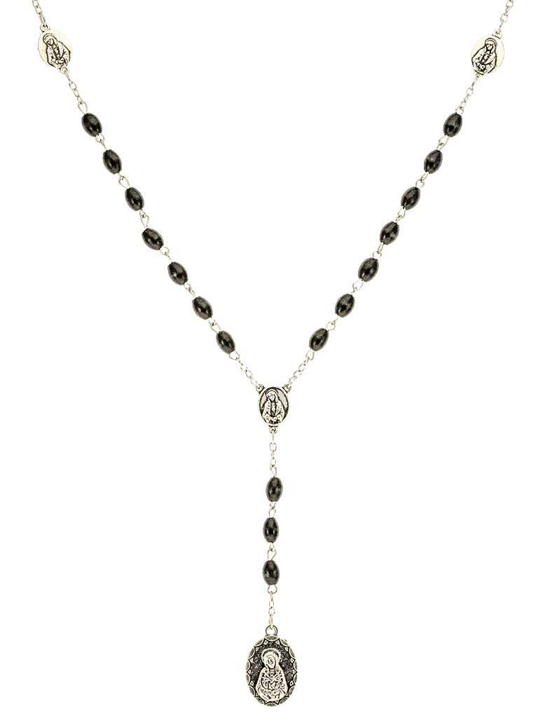 Black Wood Beads Chrome 7 Sorrows Rosary with a Prayer booklet