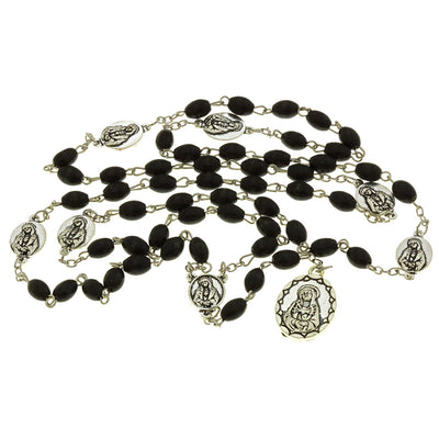 Black Wood Beads Chrome 7 Sorrows Rosaries