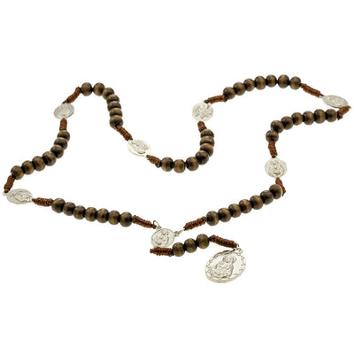 Brown Cord Brown Wood Beads Chrome Medals 7 Sorrows Rosaries