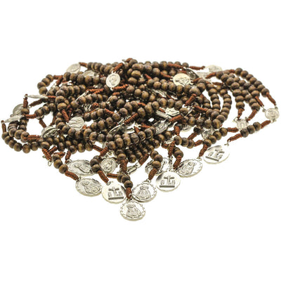 10 Brown Cord Brown Wood Beads Chrome Medals 7 Sorrows Rosaries