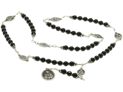 Sterling Silver 7 Sorrows Rosary Necklace Onyx and 7 Sorrows Medals