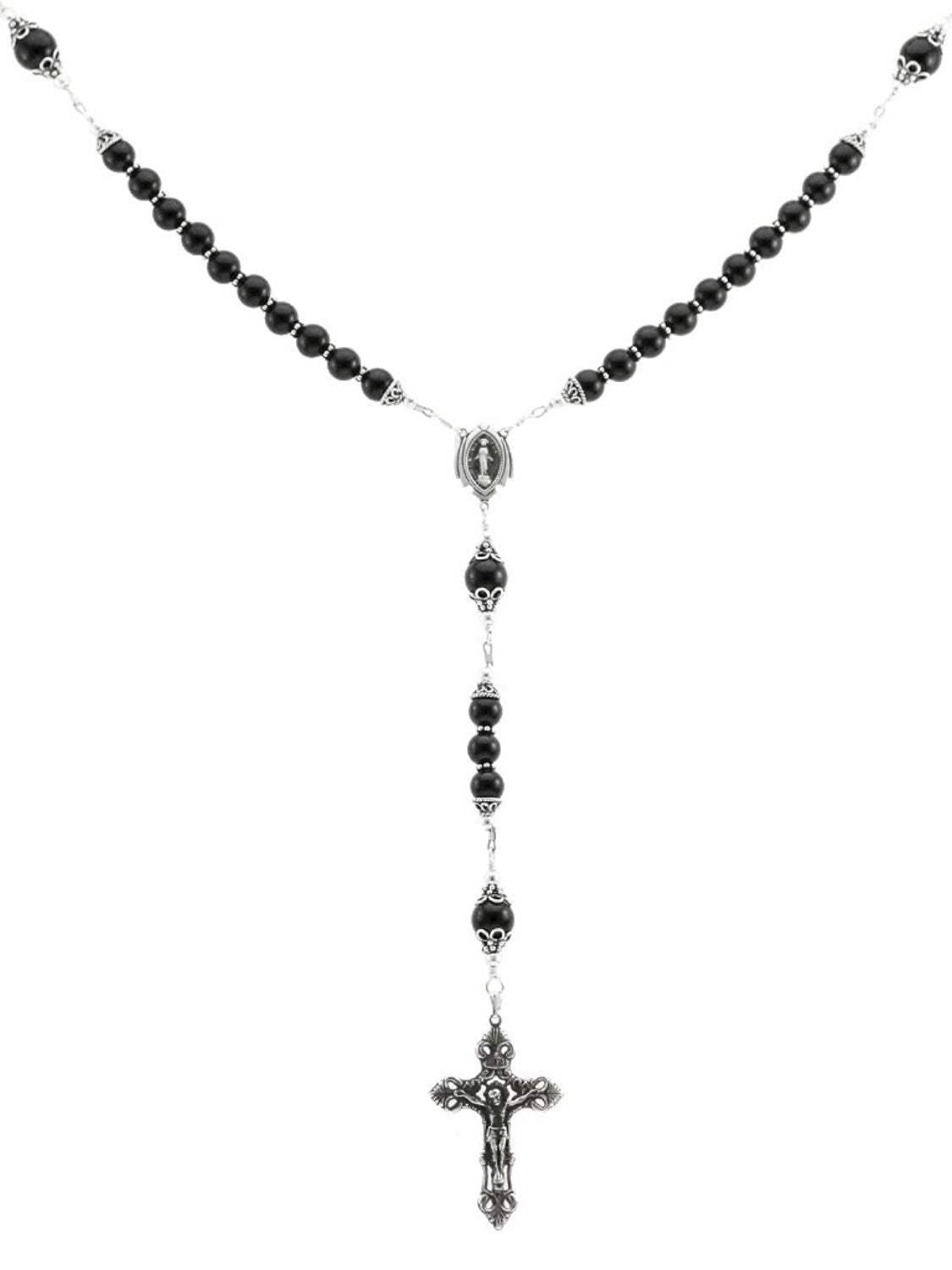 Sterling Silver Rosary Necklace Onyx with Crucifix & Miraculous Medal