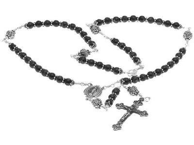 Sterling Silver Rosary Necklace Onyx Beads Crucifix Miraculous Medal