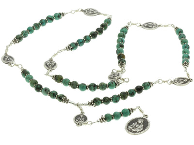 Sterling Silver 7 Sorrows Rosary Necklace Turquoise 7 Sorrows Medal set