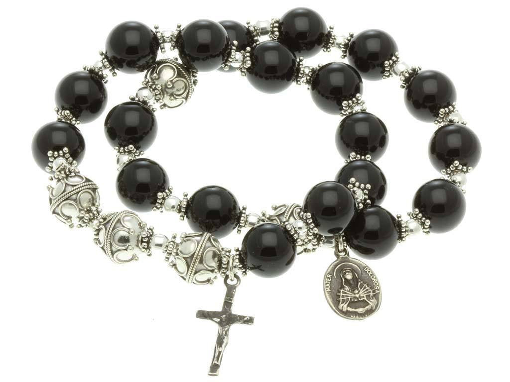 Sterling Silver Double Elastic Rosary Bracelet Black Onyx 10mm Beads