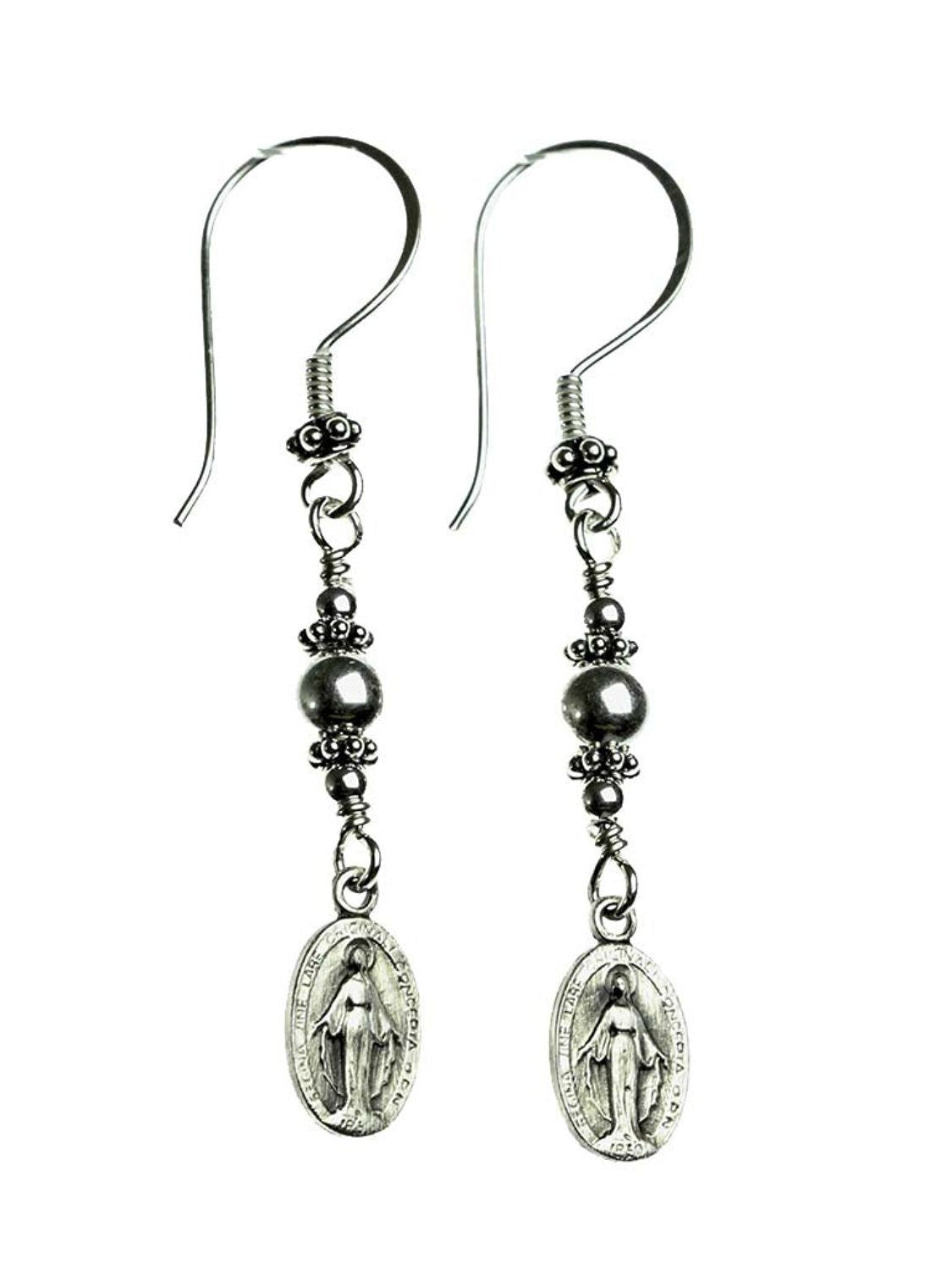 Handmade Sterling Silver Miraculous Medal Earrings