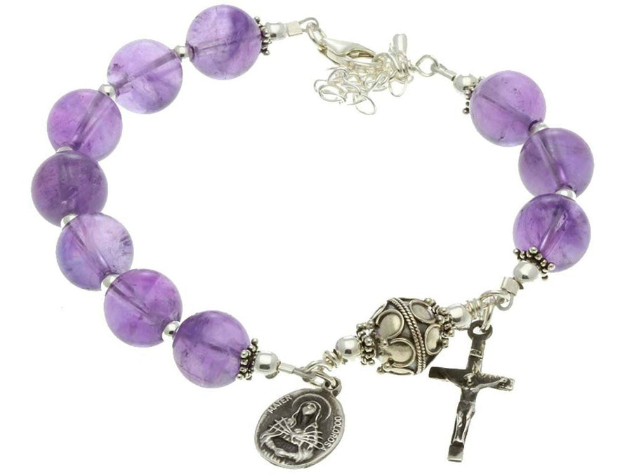 Sterling Silver 7 Sorrows Rosary Bracelet Amethyst Crucifix & Our Lady
