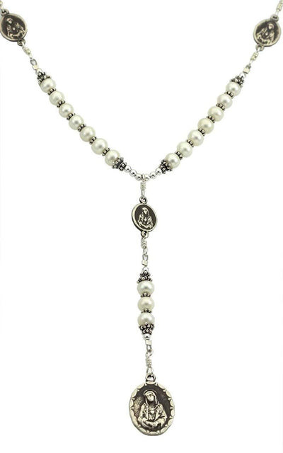 Sterling Silver 7 Sorrows Rosary Necklace Pearls with 7 Sorrows Medals