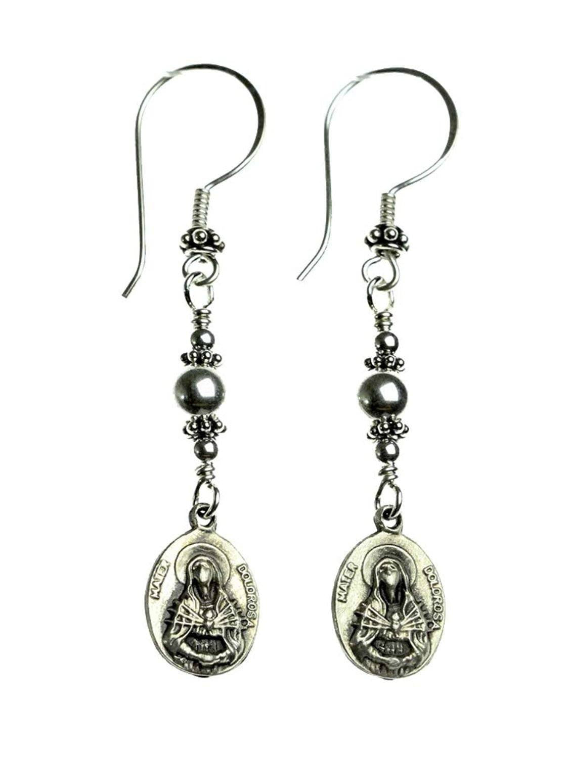 Sterling Silver Our Lady of Sorrows Earrings