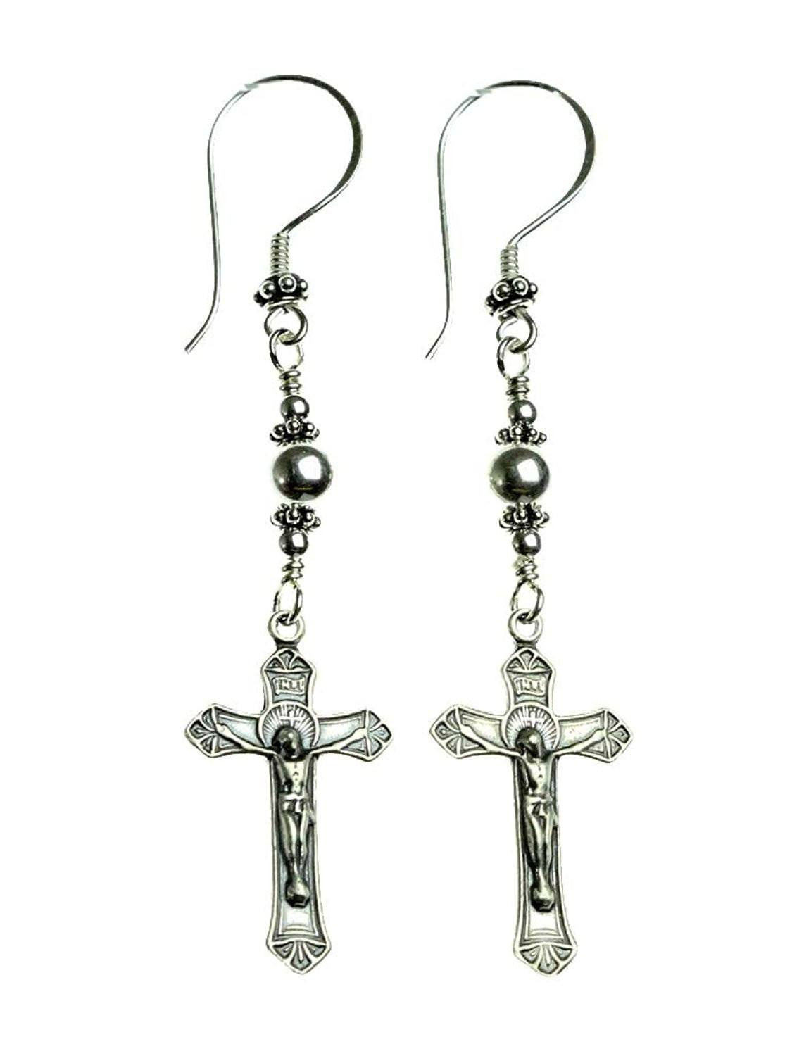 Handmade Sterling Silver Crucifix Earrings