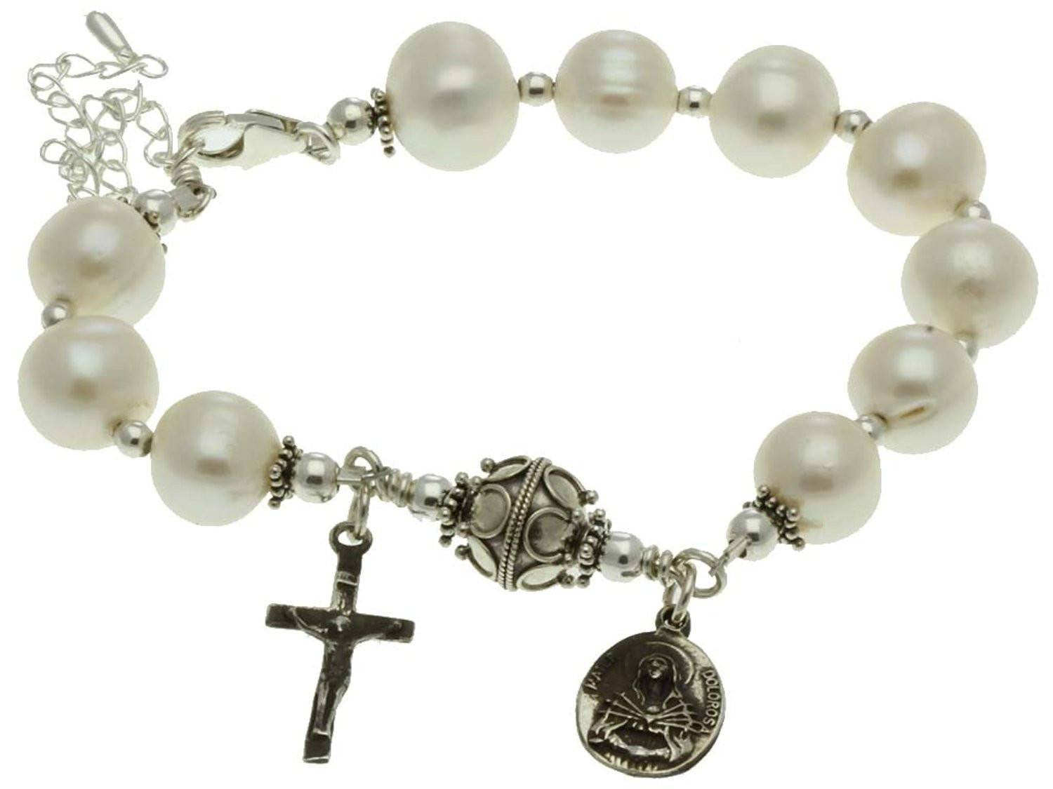 Sterling Silver 7 Sorrows Rosary Bracelet Pearl Crucifix & Our Lady of Sorrows