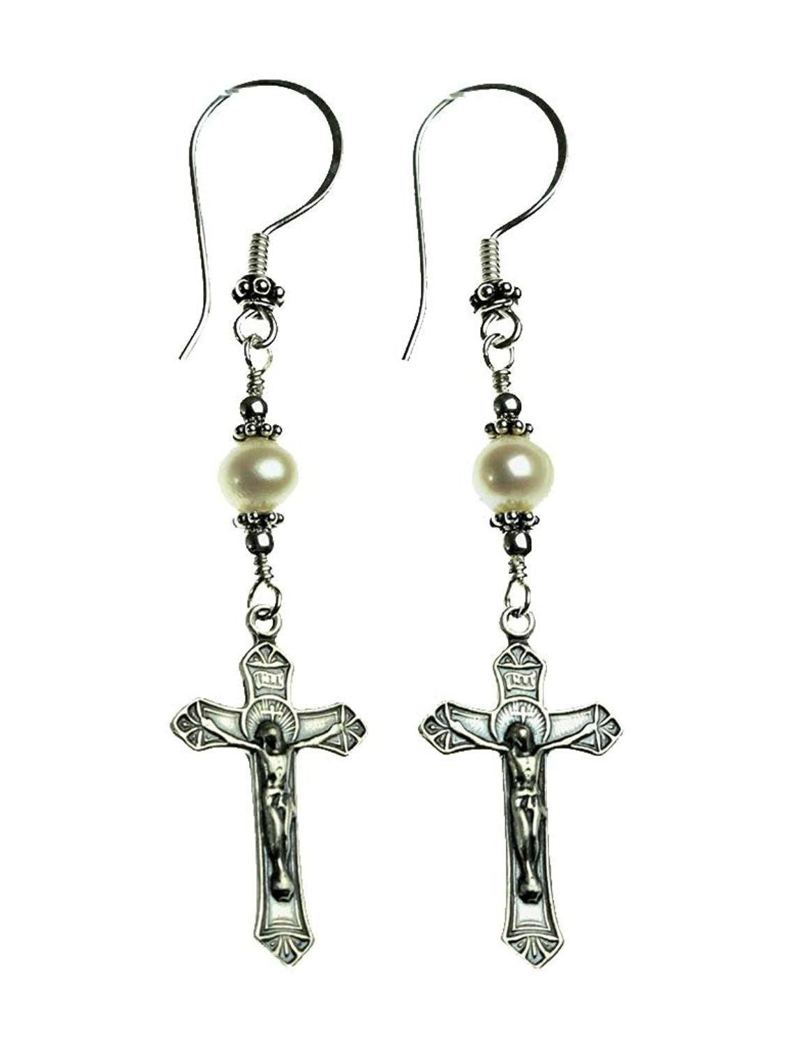 Handmade Sterling Silver Crucifix Earrings Freshwater Cultured Pearl