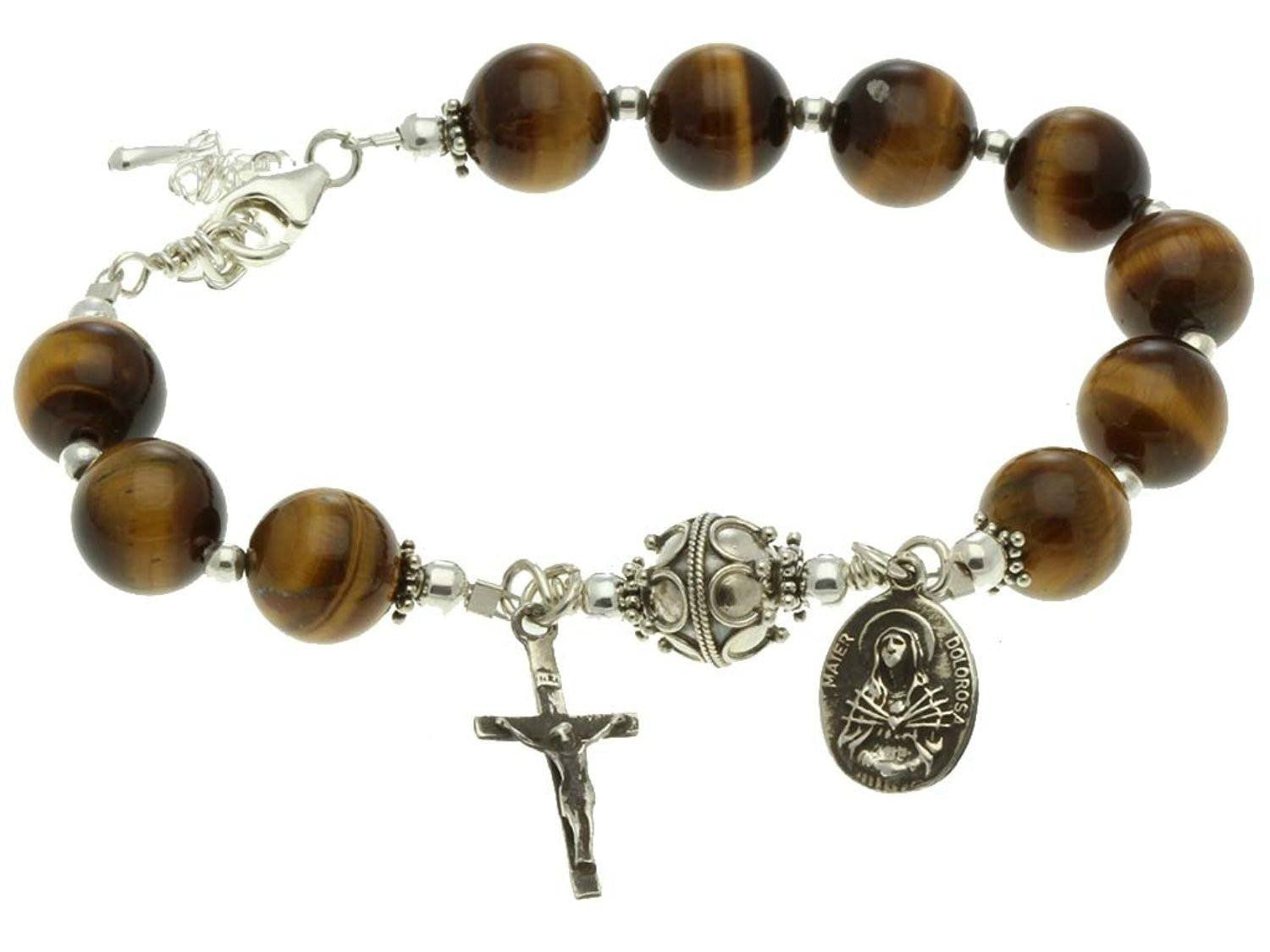 Sterling Silver 7 Sorrows Rosary Bracelet, Tiger Eyes 10mm, Crucifix