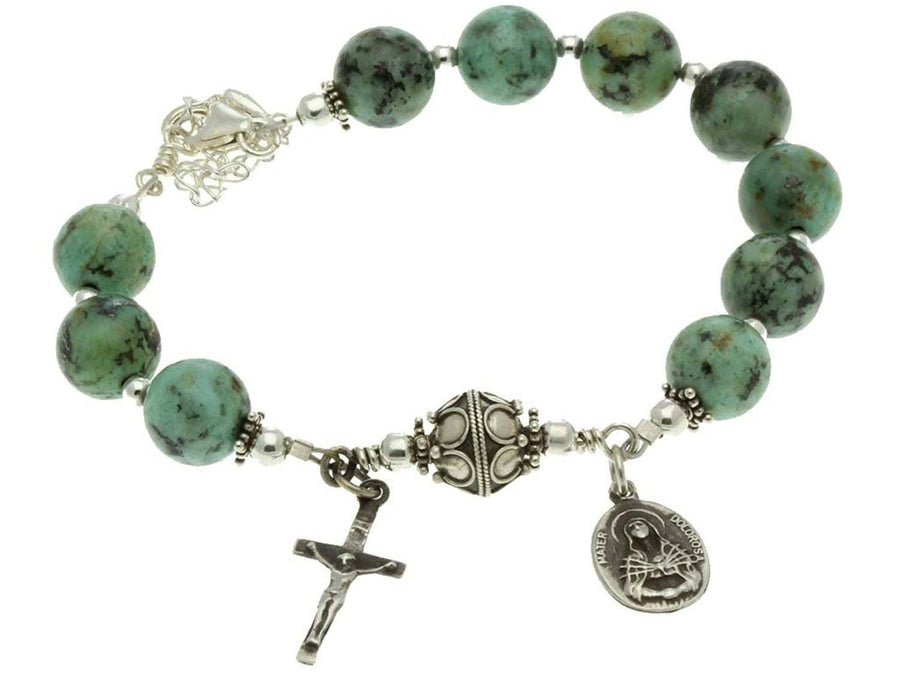 Sterling Silver 7 Sorrows Rosary Bracelet, Turquoise 10mm, Crucifix