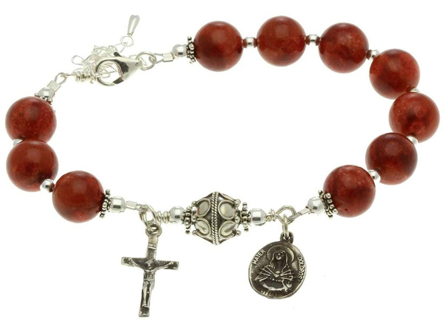Sterling Silver 7 Sorrows Rosary Bracelet, Red Sponge Coral 10mm