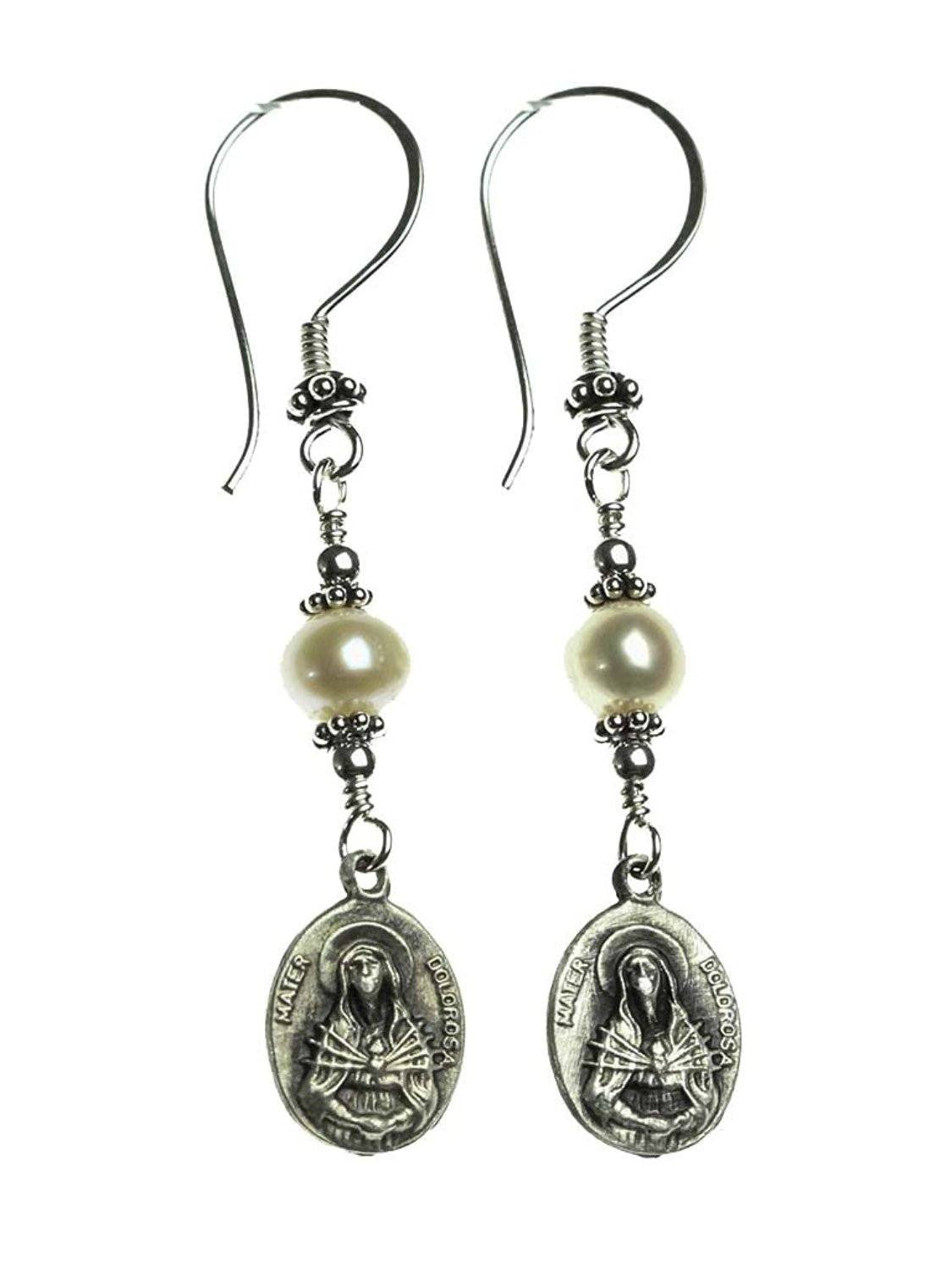 Handmade Sterling Silver Pearls & Our Lady of Sorrows Medal Earrings