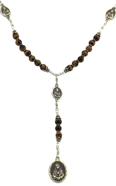 Sterling Silver 7 Sorrows Rosary Necklace Tiger Eyes 7 Sorrows Medals